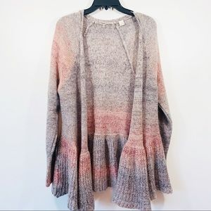 Knitted & Knotted Mohair Ruffle Ombré Cardigan